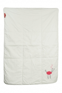 Winter baby blanket wool and bio cotton 106x73cm - Pink Poodle - Zizzz