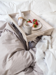 Percale Duvet Cover – fine organic cotton – White & Beige – 6 sizes available from