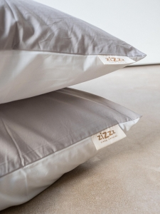 Organic Cotton Percale Pillowcases – White/Beige – 4 sizes available from