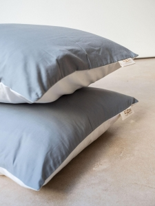 Organic Cotton Percale Pillowcase – White/Grey – 4 sizes available from