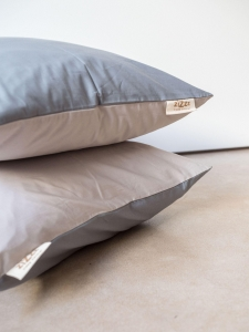 Organic Cotton Percale Pillowcases – Grey/Beige – 4 sizes available from