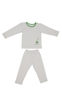 Kids pajamas with bio cotton - green frog - 4 to 5 years - Zizzz